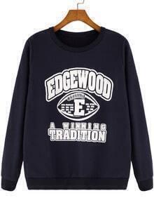 Navy Round Neck Letters Print Loose Sweatshirt