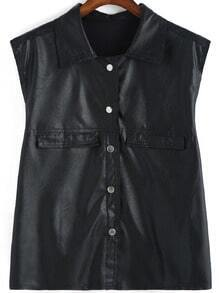 Black Lapel Sleeveless Buttons PU Jacket