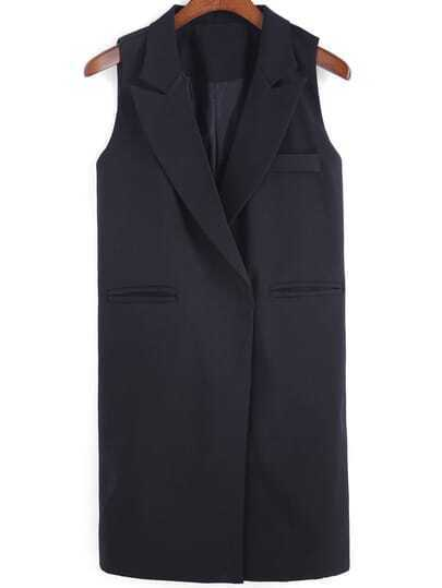 Black Notch Lapel Sleeveless Slim Vest