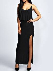 Black Spaghetti Strap Ruffle Split Dress