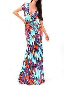 Multicolor V Neck Tie-waist Maxi Dress