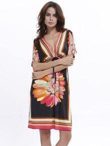 Multicolor Deep V Neck Floral Beach Dress