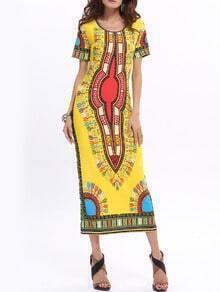 Yellow Round Neck Vintage Floral Slim Dress