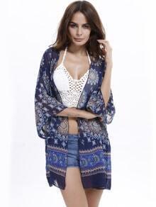 Blue Floral Sheer Chiffon Kimono