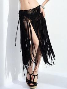 Black Weave Hollow Tassel Skirt