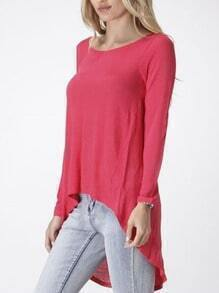 Rose Red Round Neck Dip Hem Casual T-Shirt