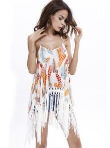 Multicolor Spaghetti Strap Feather Print Tassel Cami Top