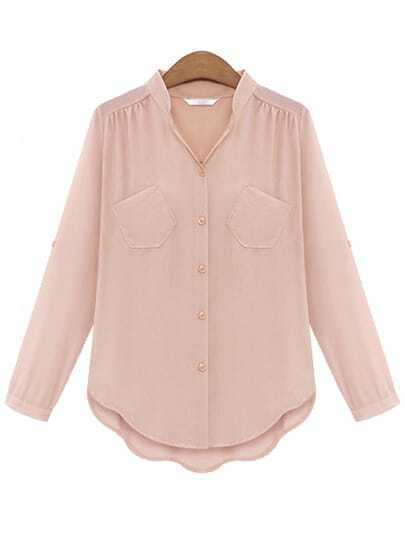 V Neck Dip Hem With Pocket Pink Blouse