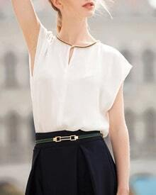 Short Sleeve Chiffon Loose White Top