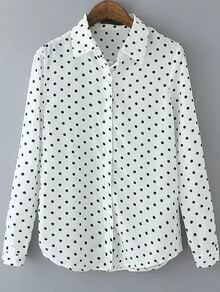 Lapel Polka Dot White Blouse
