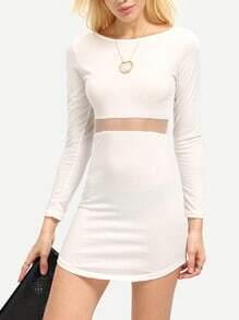 Long Sleeve Contrast Mesh Bodycon Dress