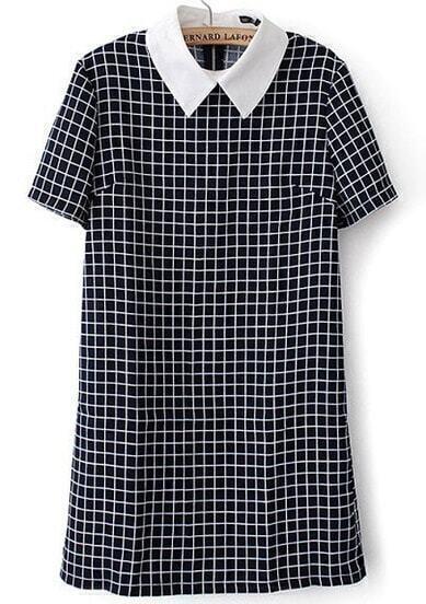 Contrast Collar Plaid Back Zipper Dress