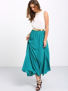 Color-block With Belt Chiffon Teal Maxi Dress