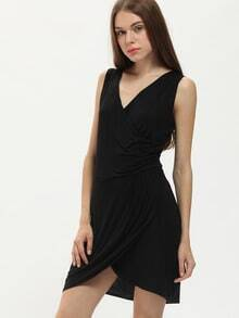 Deep Plunge Neck Irregular Hem Black Dress