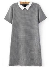 Contrast Lapel Houndstooth Print Dress