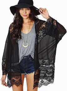Sheer Lace Transparent Sexual Ethereal Chiffon Kimono