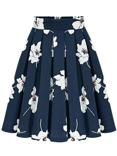 Flowers Print Chiffon Pleated Navy Skirt