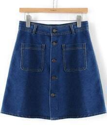 With Pockets Buttons Denim Skirt