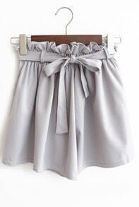 With Bow Wide Leg Chiffon Shorts