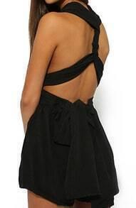 V Neck Criss-Cross Back Lace Up Black Jumpsuit