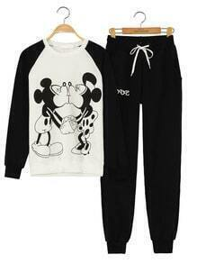 Mickey Print Top With Drawstring Black Pant