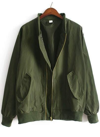 Stand Collar With Pockets Army Green Jacket