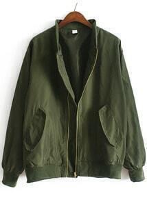 chaqueta cuello mao bolsillos-verde