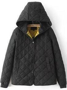 Hooded Buttons Diamond Quilted Black Coat