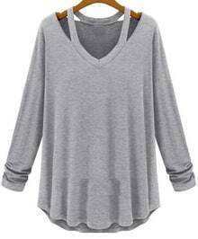V Neck Hollow Grey T-Shirt