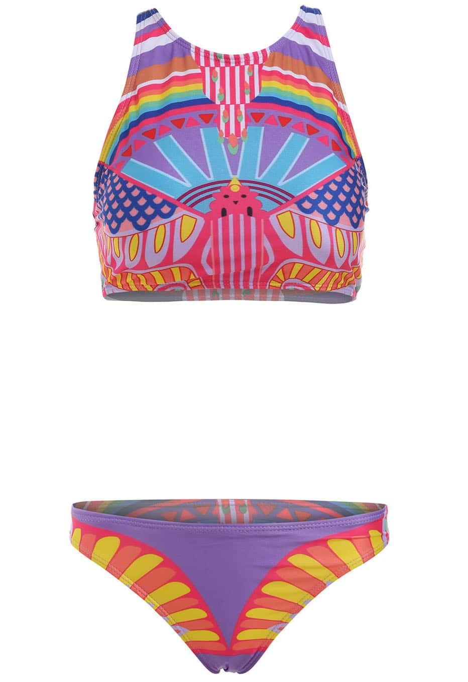 Striped Crop Top With Bikini Swimwear