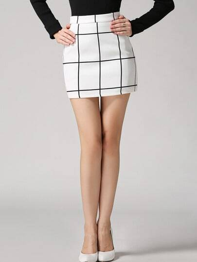 Plaid Bodycon White Skirt