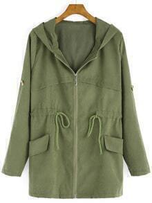 Hooded Drawstring Zipper Army Green Coat