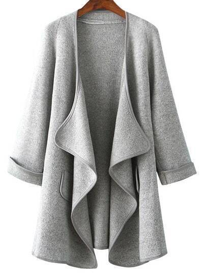 Long Sleeve Drape Front Grey Coat