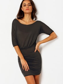 Oblique Shoulder Folds Amazing Pop Popular Glamor Bodycon Wrinkle Sophisticated Black Shouldered Dress