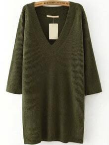V Neck Green Informal Sweater Dress