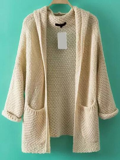 Pockets Chunky Knit Apricot Coat