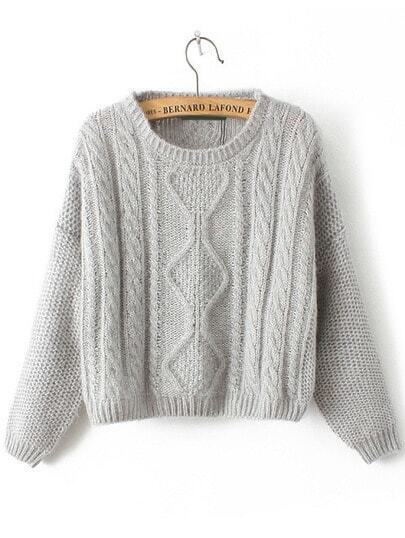 Cable Knit Slit Back Grey Sweater