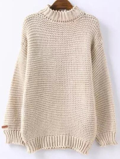 High Neck Chunky Knit Beige Sweater