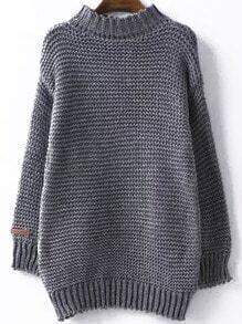 High Neck Chunky Knit Grey Sweater