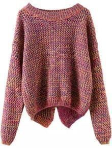Long Sleeve Slit Back Purple Sweater