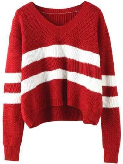 V Neckline Striped Sweater