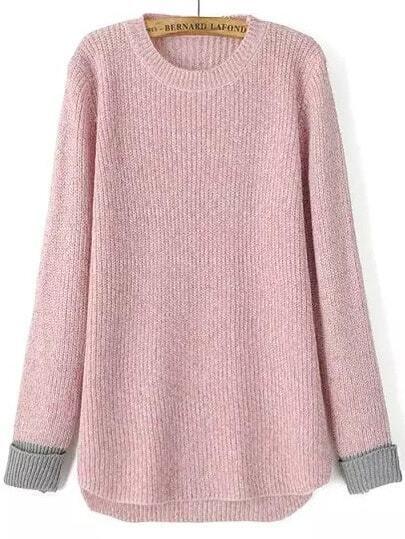 Contrast Cuff Dip Hem Pink Sweater