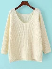 V Neck Dip Hem Beige Sweater