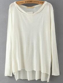 Long Sleeve Dip Hem White T-shirt