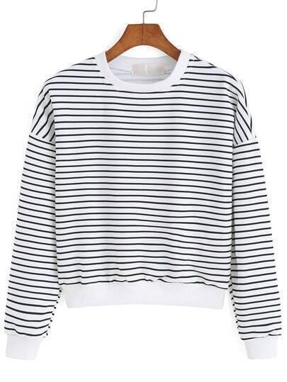 Round Neck Striped White Sweatshirt