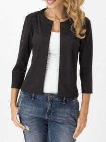 Round Neck Crop Black Blazer