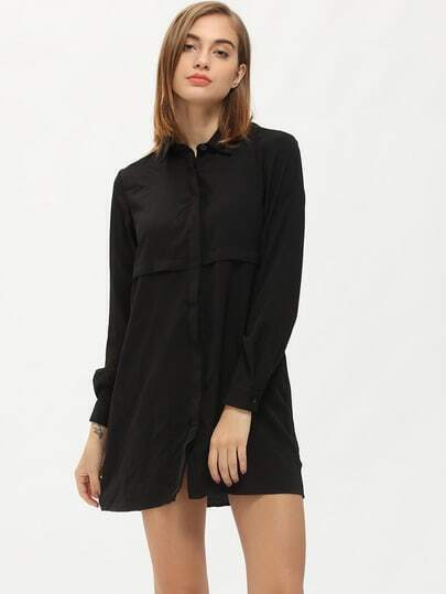 Black Lapel Loose Casual Shirt Dress