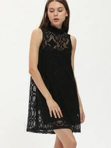 Black Stand Collar Sleeveless A-Line Dress