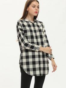 Black Hooded Plaid Buttons Blouse