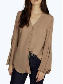 Khaki V Neck Bell Sleeve Buttons Blouse